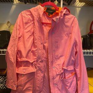 J.Crew pink and orange raincoat
